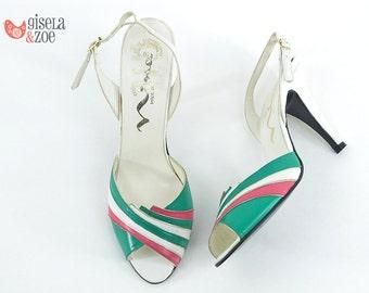 70s Nina Disco Peep-Toe Sling-Back Heels | Multi-Color High Heels Vintage 70s Heels • size 7.5 N