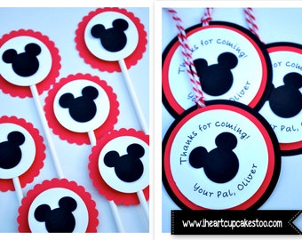 Mickey Mouse Clubhouse Birthday Party | Mickey Mouse Cupcake Toppers and Favor Tags