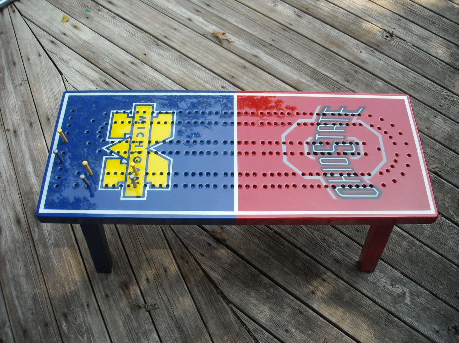 Crib boards for sale uk - Custom Made Cribbage Board Coffee Table Cribbage Cribbage Table Team Rivalry College Rivalry House Divided Cribbage Coffee Table