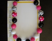 Hot Pink Zebra Bubble Gum Chunky Necklace with Diamond Pendant. Toddler/Child Photo Prop. Ready to Ship