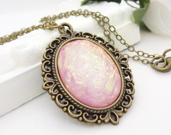 Pink peach opal necklace - Pale peach cabochon necklace in antique bronze filigree, vintage style peach gothic necklace, peach pink jewelry