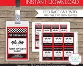 Race Car Party Pit Crew Pass printable insert - INSTANT DOWNLOAD and EDITABLE template - type your own text in Adobe Reader