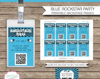 Rockstar Party Backstage Pass printable insert - INSTANT DOWNLOAD and Editable Template - you type your own text in Adobe Reader