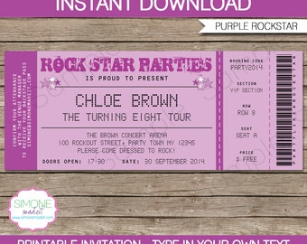 Karaoke Invitation Template - Rockstar Birthday Party - Purple - INSTANT DOWNLOAD with EDITABLE text - you personalize at home