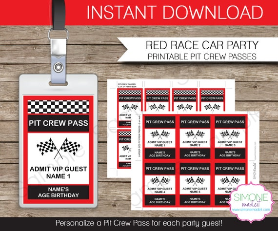 Famous Race Car Party Pit Crew Pass printable insert - INSTANT DOWNLOAD  ES25