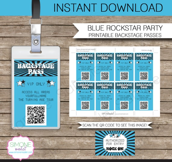 Rockstar Party Backstage Pass Printable Insert   INSTANT DOWNLOAD And  Editable Template   You Type Your Own Text In Adobe Reader  Free Vip Pass Template