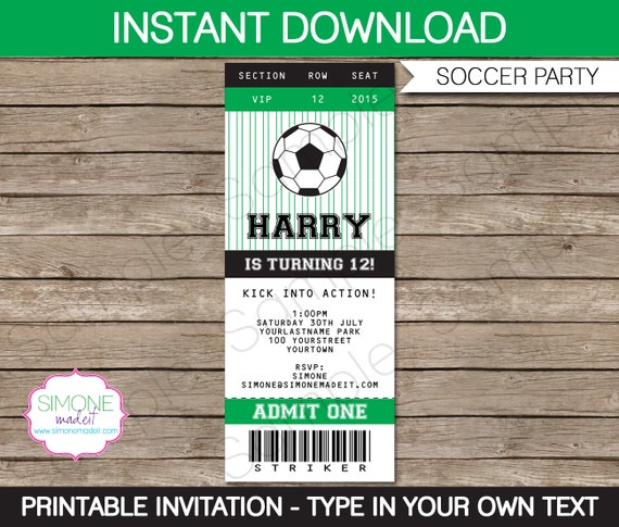 Soccer Ticket Invitation Template  Birthday Party  Instant