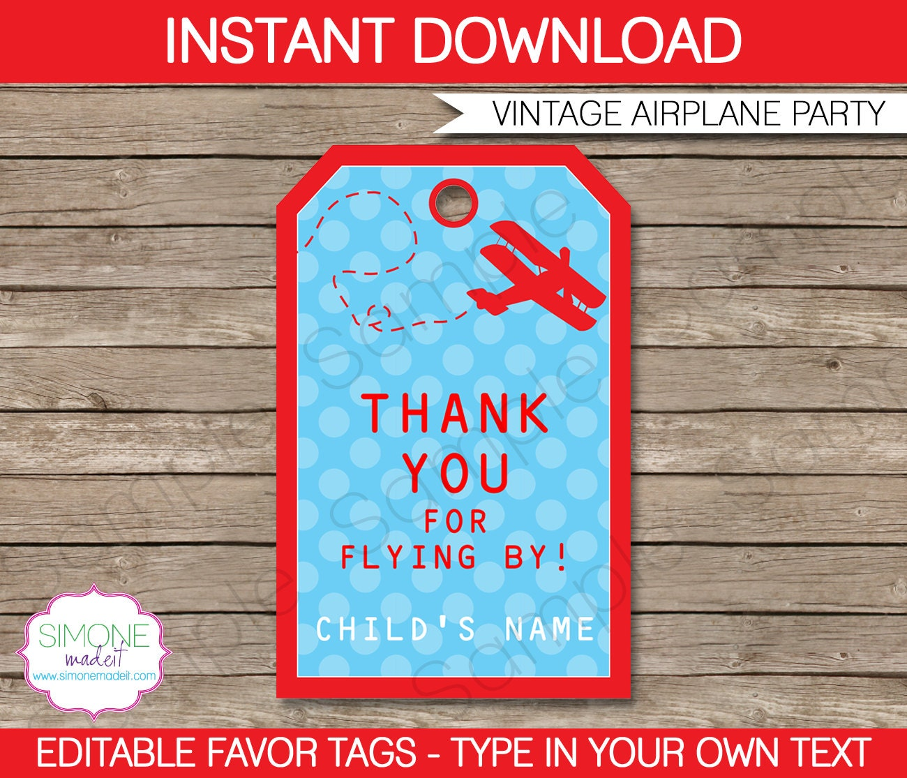 Airplane Birthday Party Favor Tags: Airplane Favor Tags Thank You Tags Birthday Party Favors