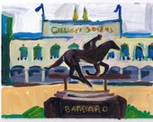 "Churchill Downs, KY, Original Painting, signed art, Barbaro, 6 x 8"" Kentucky Derby Horse Race"