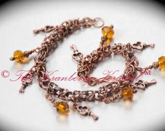 Byzantine copper charm bracelet, Key charm bracelet,  Steampunk key bracelet, Neo Victorian, Chainmaille