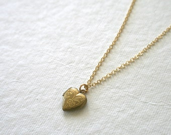 Tiny Vintage Etched Heart Locket Necklace, Minimalist Jewelry, Dainty, Brass, Spring Jewelry, Love