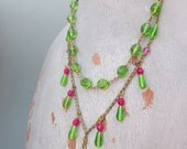 Lime Green Necklace with Green and Hot Pink Vintage Glass and Brass