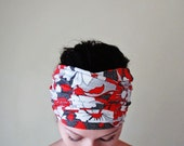 FLORAL Head Scarf - Botanical Hair Wrap - Extra Wide Jersey Headband - Lightweight Hair Accessory - Red, White, Black Flowers