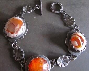 Fire Opal Fire Agate Sterling Silver Bracelet
