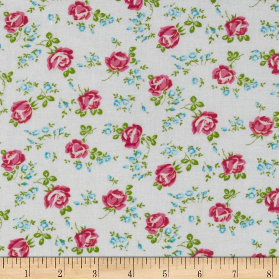 Laminated cotton fabric by the yard small roses on white for Cotton fabric by the yard