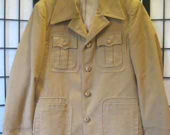 Vintage 1960s 1970s McGregor Jacket Camel Sport Coat Blazer 42 M Faux Suede Sueded Cloth Sportcoat Adjustable Waist Ties Label Size 40
