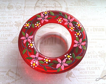 Glass Tea Light Holder in Red,  Hand Painted Glass Decoration, Candle Light Holder, Glass Candle Holder, Ready to Ship