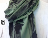 Mens Gift, Silk Scarf Men, Husband Gift, Father Gift, Silk Scarf Handpainted, Green and Black Scarf, Zen Bamboo Scarf, 14x72 inches.