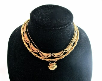 Vintage Monet Necklaces Lot of 3 Gold Toned 1970s 1980s