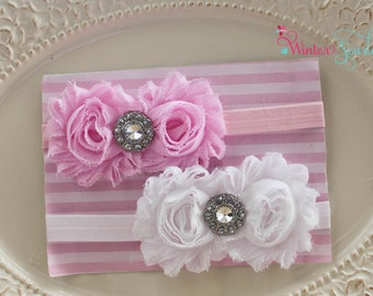 Set of 2 Baby headband- newborn headband, Flower Headband - Baby Girl Headband