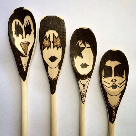 Kiss Band Makeup: KISS Band Makeup Wooden Spoons -Set Of 4- Christmas Gifts