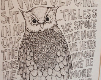 A Wise Old Owl - Limited Edition Framed Signed Print by Kelly O'Gorman