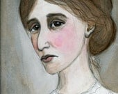 Virginia Woolf, Literary Portrait, Art Print, Writers Illustration (6x8) Watercolor Painting