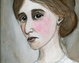Virginia Woolf, Literary Portrait, Art Print, Writers Illustration (6x8) Watercolor Painting