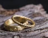 Gold Plated Stacking Rings-Gold Plated Sterling Silver Stacking Ring Set-Floral Antiqued Band-Ancient Greek Inspired Jewellery