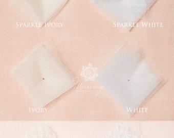 Bridal Illusion Tulle Silk White Ivory Wedding Veil Fabric Swatches Sample