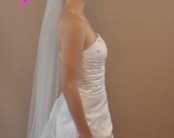 PLAIN FINGERTIP VEIL 40 Inch 1 Tier in White, Diamond White, or Ivory Tulle, custom handmade bridal wedding veil