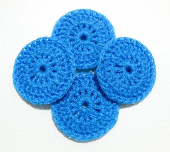 Nylon Dish Scrubbies - Set of 2 through 8 - Bright Blue Crochet Pot Scrubber