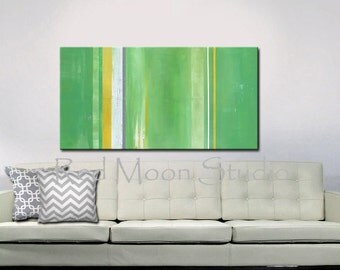 Green Yellow Gray White Abstract Painting, Large 48x24, Original Abstract Art