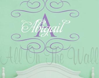 Wall Decal Monogram Girl Nursery Decals Name Baby Girl Vinyl Lettering