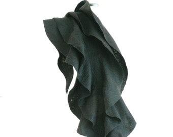 Felt ruffled scarf, Black merino wool -  Holiday Fashion