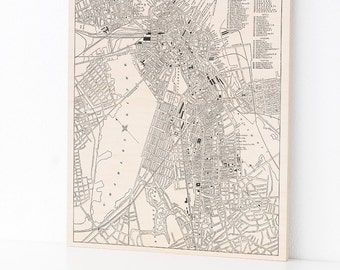 Boston, Wood Print, Historic Map, Home Decor, Art