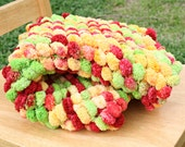 Pom Pom Blanket Newborn Photo Prop Multicolor Red Bright Yellow Lime Green Floor Mat Basket Filler Ready to Ship