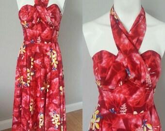 Vintage 1950s Kamehameha Hawaiian Hibiscus Marilyn Convertable Straps Dress 25 inch waist