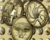 Steampunk - Victorian, Kraken, Jules Verne, airships - 18x25mm Cameo Ovals - Digital Collage Sheet - Printables - Digital Download