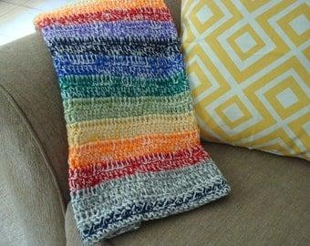 "Rainbow Baby Blanket 30"" x 35"" Crochet"