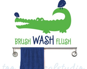 Alligator Bathroom Wall Decal, Gator Bathroom Rules,  Kids Vinyl Wall Decal Sticker, Crocodile Decals, Kids Bathroom Rules, Boys Wall Decals
