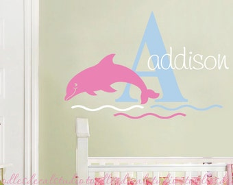 Dolphin Wall Decal - Girls Ocean wall Art - Dolphin stickers for girls nursery - Beach Wall Art - Bathroom Wall Decals - Kids Name Art