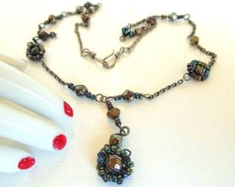 """Vintage Y Necklace Black Black Bead 17"""" 90's (item 215)"""