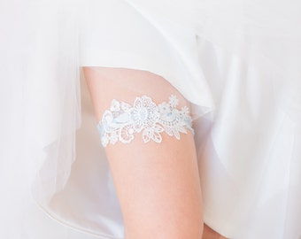 Something Blue - Wedding Garter, White Lace, Blue lace band, Bridal Shower Gift, Lingerie
