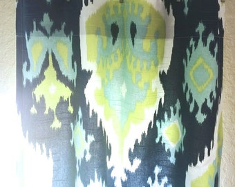 Lime Green and Navy Blue Ikat Drapery Curtain Panels. 25 or 50 Inch Widths. 63, 84, 96, 108, 120 Lengths. Window Treatments. Premier Ikat