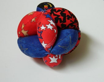 Baby Clutch Ball - Red and Blue Stars - Bright Colors Soft Toy - Handmade Baby Toys and Gifts - Childs' Grab Ball - Montessori Toy - Unisex