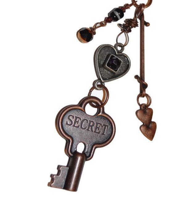 SALE 25% off Secret Love Copper Key Pewter Heart Dark Rhinestone Keychain or Purse Jewelry