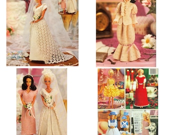 Dressy Bridal Doll Clothes Barbie Pattern Bride Bridesmaid Wedding Crochet Pattern