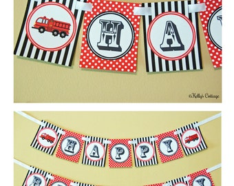Fire Truck Birthday Banner, Instant Download, Printable, Digital