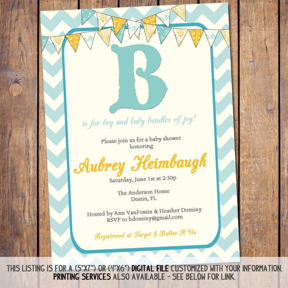 Items Similar To Boys Baby Shower Invitation, B Is For Boy